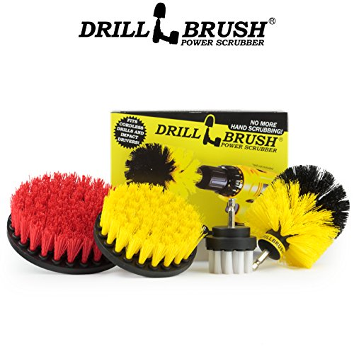 - Drillbrush Drill Brush Scrub Brush Drill Attachment Kit - Drill Powered Cleaning Brush Attachments - Time Saving Cleaning Kit - Great for Cleaning Pool Tile, Flooring, Brick, Ceramic, and Grout