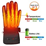warm gloves for men heated - Winter Warm Rechargeable Electric Battery Heated Gloves with Li-ion Battery for Men and Women,Outdoor Indoor battery powered Hand Warmer Glove Liners for Hiking Skiing Cycling Snowboarding (Black, XL)