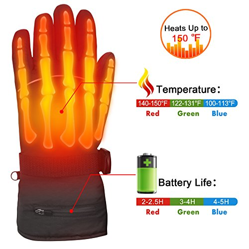 Autocastle Winter Warm Rechargeable Electric Battery Heated Gloves with Li-ion Battery for Men and Women,Outdoor Indoor battery powered Hand Warmer Glove for Hiking Skiing Cycling (Black, - Glove Battery Liners Heated
