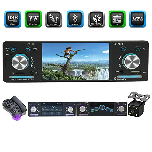 CACA Car Stereo receiver with Bluetooth FM and Radio in Dash/4.1inch HD Digital Screen/MP3/Video Player, Single Din USB/AUX in/Hands-Free Calling/Rear View Camera Input and Wireless Remote Control