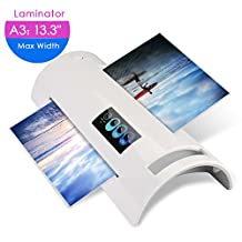 A6/A4/A3 Thermal Laminator, Laminating Machine with Two Roller System, Jam-Release Switch and Automatic Shut off Function, Fast Warm-up, Quick Laminating Speed,for Home, Office and School (white laminator)