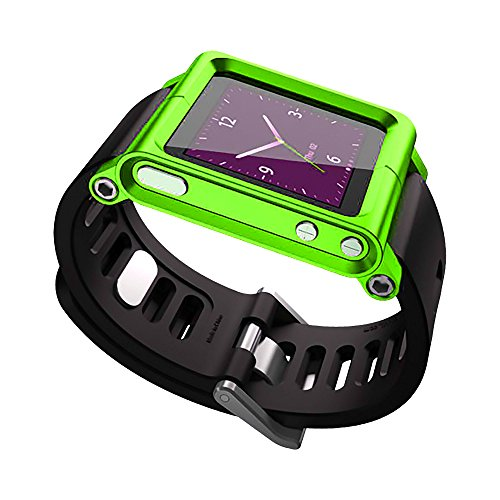 TansyShop Multi-Touch Aluminum Watch Band Cover Case for Apple iPod nano 6th generation 8GB 16GB OEM (Green)