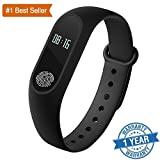 Rewy Certified M2 Smart fitness Band with Heart Rate sensor/Pedometer/Sleep Monitoring functions for Android, Iphone - Black