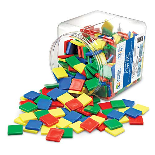 Learning Resources Square Color Tiles, Counting, Sorting Toy, Set of 400 in 4 Colors, Ages 4+