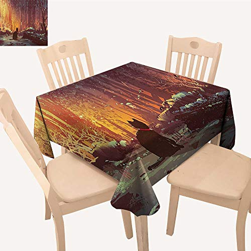 - UHOO2018 Square/Rectangle Polyester Tablecloth Table Cover Surreal Lost Black Cat Deep Mystic Lights Picture Orange Brown for Dining Room,50x 50inch