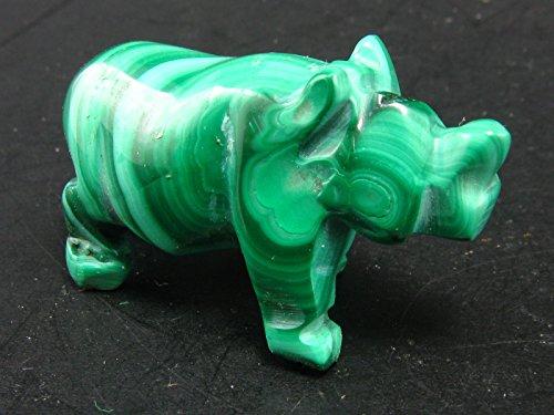 Beautiful Malachite Rhino Rhinoceros Carving From Congo - 1.3