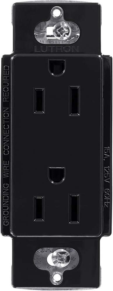 Lutron CAR-15-BL Claro 15-Amp Receptacle, Black