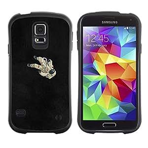 LASTONE PHONE CASE / Suave Silicona Caso Carcasa de Caucho Funda para Samsung Galaxy S5 SM-G900 / Astronaut Black Minimalist Cosmos