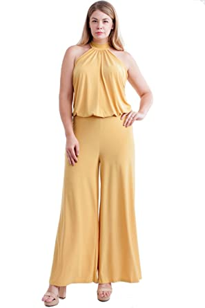 055b9f2592c Amazon.com  Nyteez Women s Plus Size High Neck Wide Leg Jumpsuit (2X ...