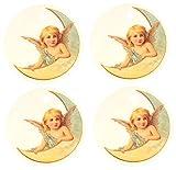Set of Four Vintage Angel on Moon Air Fresheners, Cedarwood Essential Oil