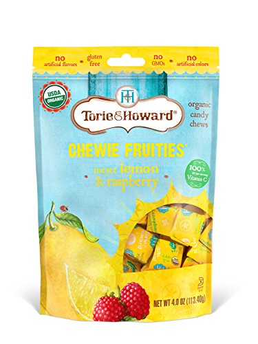 Torie & Howard Chewie Fruities Organic Candy Lemon & Raspberry, 4 Ounce Bag