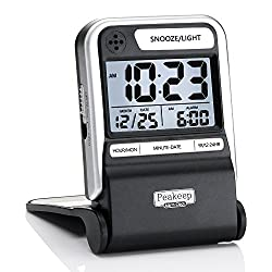 Peakeep Ultra Compact Battery Travel Alarm Clock with Calendar, Ascending Beep Alarm with Snooze Light, 3 AAA Battery Operated Small Digital Alarm Clock (Black with Silver)