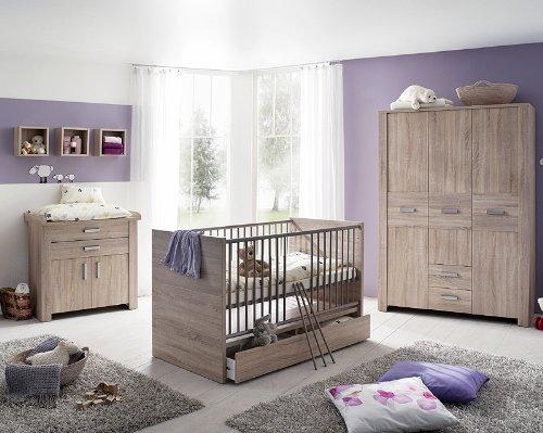7-tlg Babyzimmer Eiche sägerau Kleiderschrank Gitterbett Wickeltisch Regal