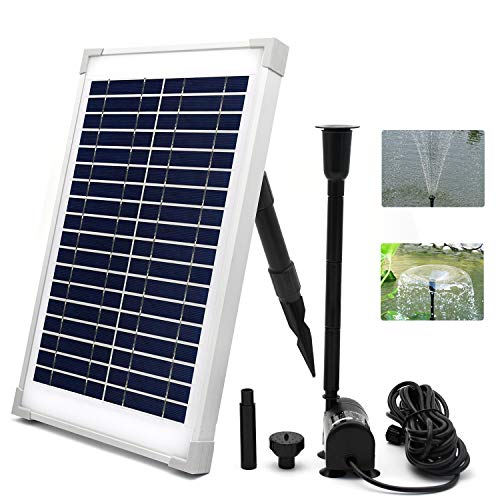 yiyusheng 10W Solar Fountain Pump Kit, Solar Water Pump with 2 Nozzles/10 watt Solar Panel/Water Pump, for Bird Bath, Fish Tank, Pond or Garden Decoration Solar Aerator Pump