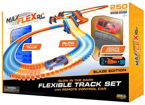 Max Flex Blaze 250 Award Winning R/C Light Trace Technology Glow in the Dark Flexible Track System with 1:64 Scale Remote Control Car