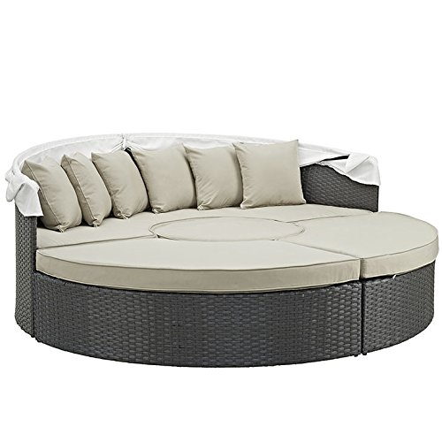 Modway Sojourn Outdoor Patio Sectional Daybed with Canopy With Sunbrella Brand Antique Beige Canvas Cushions