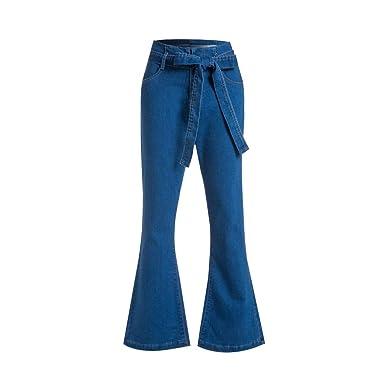 HEFYBA Pantalones Vaqueros de Cintura Alta Acampanados para el ...