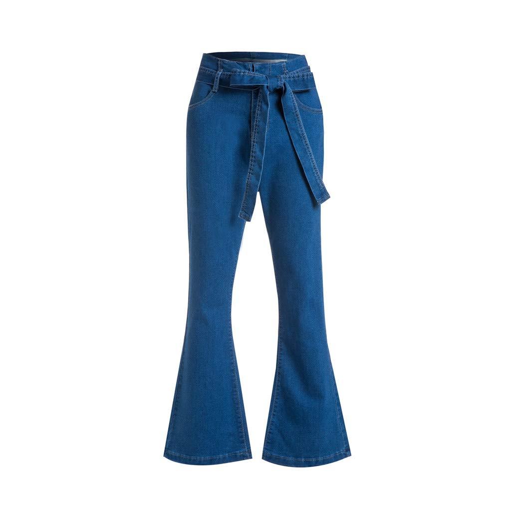 IEason Women Loose Lace up Denim Flare Pants Fashion Popular Plus Size for Female Wide Leg Pants