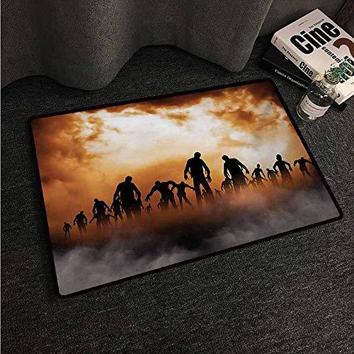HCCJLCKS Outdoor Doormat Halloween Zombies Dead Men Walking Body in The Doom Mist at Night Sky Haunted Theme Print Suitable for Outdoor and Indoor use W20 xL31 Orange Black -