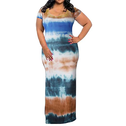 Amazon.com: Tomppy Women Plus Size Maxi Dresses Casual ...