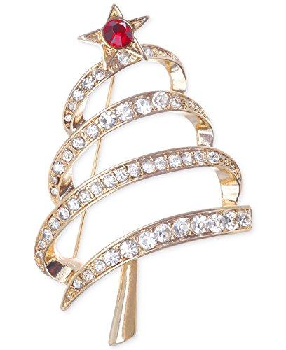 Jones New York Goldtone Christmas Tree Pin - Clear Rhinestones