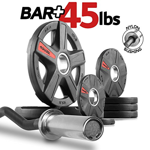 XMark Olympic EZ Curl Bar with TEXAS STAR 45 lb. Olympic Plate Weight Set, Use with Preacher Curl Bench, Utility or Dumbbell Benches, Bicep Curl and Triceps Extension