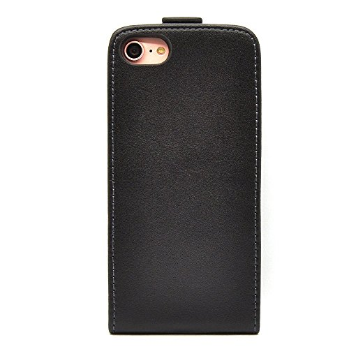 Membrane Funda Apple iPhone 7 Carcasa Cuero Auténtico Negro Piel Ultra Slim Case Flip Cover Slim Negro
