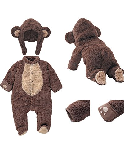 Infant Baby Winter Cosplay Animal Footed Romper Bodysuit Overalls Outfits Set With Hats  Brown  66Cm 0 3M