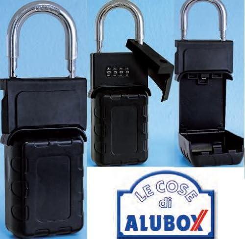 4x6.5x19 cm Nero Alubox 99LUCPR Lucchetto Porta Oggetti Acciaio