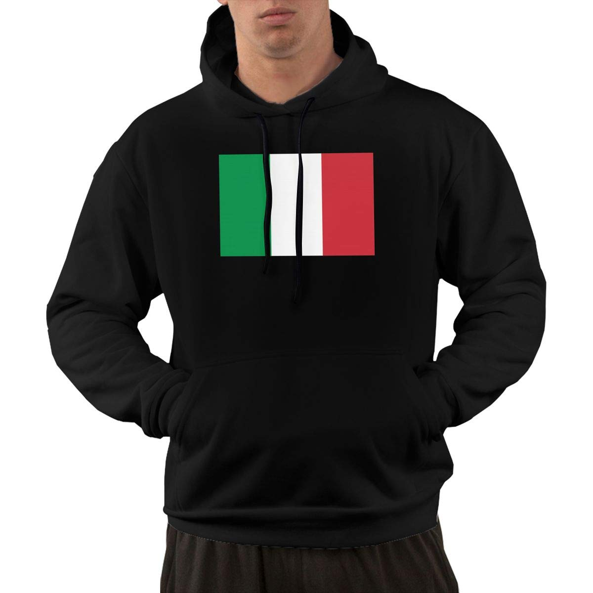 Flag of Italy Hoodie Mens Performance Active Hooded Sweatshirt Jacket Pullover with Front Pocket