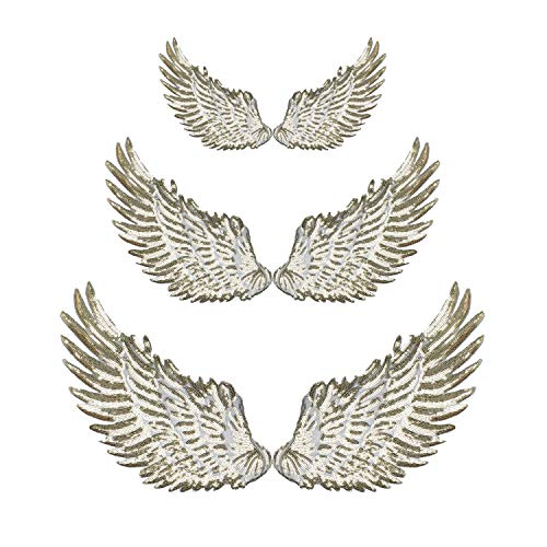 Calculs 3 Pair Sequin Patches Angel Wings Iron On Patch DIY Embroidered Applique Multi-Sized for Jackets Bags Decoration Valentine's Day Gifts Gold