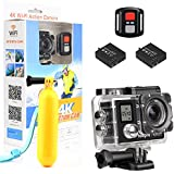 Action Camera,Toopro 4K WiFi Ultra HD Waterproof Sport Camera with 170 Wide-Angle Lens and Rechargeable 1050mAh Battery, Including Waterproof Case and Full Accessories Kits (black)
