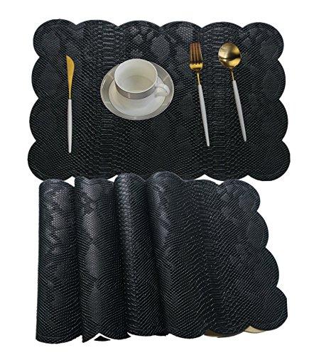 WANGCHAO Placemat, Plastic molding Faux Leather PVC Place mats Crocodile Pattern placemats Non-Slip Insulation Washable Table Mats (Black, Set of 8)