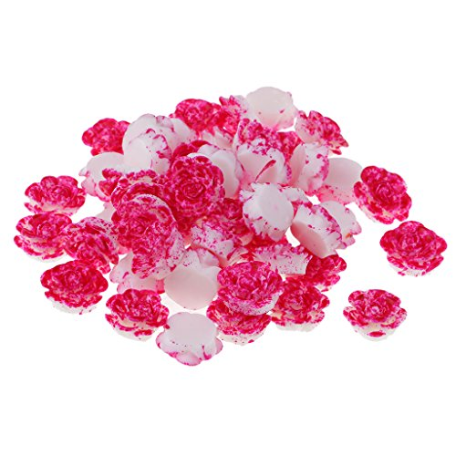 (MagiDeal 50 Pieces Lots Mixed DIY Flatbacks Resin Flat Back Layered Flowers Cabochon Buttons Scrapbooking Slime Charm DIY Embellishment Craft 14mm - Rose red and White)