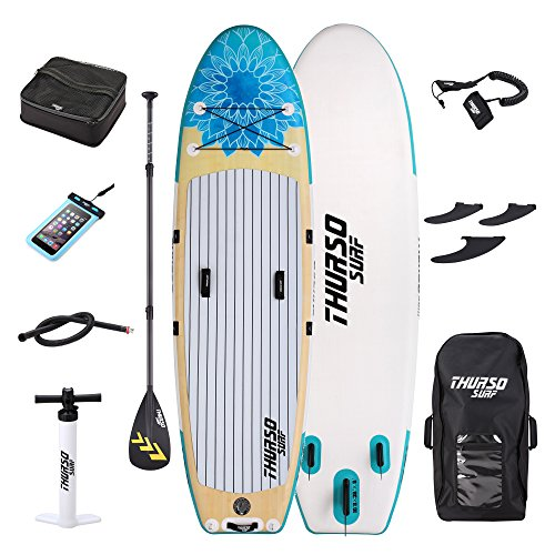 Carbon Paddle Spring (THURSO SURF Tranquility Yoga Inflatable Stand Up Paddle Board SUP 10'8 x 34'' x 6'' TWO LAYER Deluxe Package Includes CARBON Shaft Paddle/2+1 Quick Lock Fins/Deck Bag/Leash/Pump/Backpack)