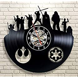 Kovides Decorations for Birthday Party Star Wars Wall Clock Large Star Wars LP Clock Film Movie Star Wars Art Unique Gift Idea for Fan Retro Vinyl Record Clock Vintage Wall Clock