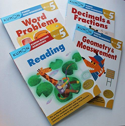 Kumon Grade 5 Math + Verbal workbooks (4 books) - Reading, Decimals & Fractions, Geometry & Measurement and Word Problem