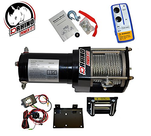 D-Rhino Vehicle Recover Electric Winch Kit 3000 lb Load Capacity Remote 12V ATV Towing Trailer Truck SUV Heavy Duty