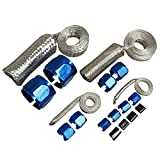 Engine Vacuum Heater Fuel Dress Up Line Hose Sleeve Kit Stainless Braided Blue