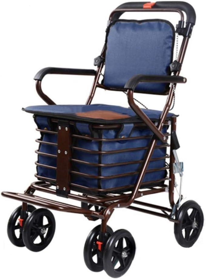 PNYGJZXQ Andador con Asiento con Ruedas, carritos de Compra: Carro de Compras de Cuatro Ruedas for Ancianos, Andador con Asientos con Ruedas, Carrito con Ruedas Plegables (Color : Azul)