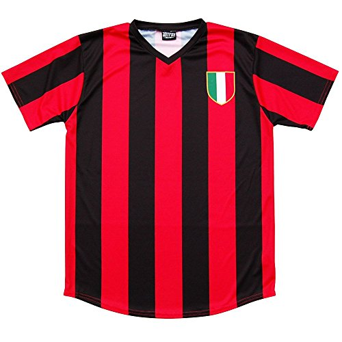 AC Milan Retro #10 Soccer Jersey, Red and Black, Adult Small