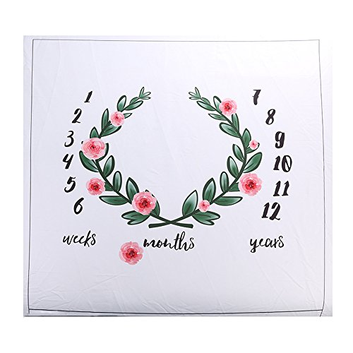 Ever Fairy Baby Floral Wreath Print Milestone Blanket with Monthly Growth Chart Backdrop Newborn Baby Photography Props (Flower) (Best Lens To Use For Newborn Photography)