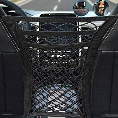 3-Layer Car Mesh Organizer Seat Back Cargo String Net Pouch Holder Driver Storage Headrest Hooks with Phone Holder Cargo Tissue Purse Holder Vehicle Organizer Car Barrier of Backseat Kids Pet Dog