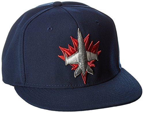 fan products of Reebok NHL Winnipeg Jets Men's SP17 Oversized Logo Flat Visor Flex Cap, Navy, Small/Medium