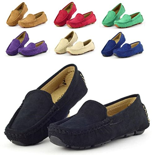 DADAWEN Girl's Boy's Suede Slip-on Loafers Oxford Shoes Purple US Size 8 M Toddler