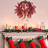 Red Berry Wreath 22 Inch Front Door Artificial Xmas Wreath Home Decor Wreath for Xmas and Winter Display