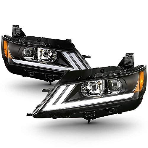 [For 2014-2019 Chevrolet Impala Halogen Model] Black Housing OLED Neon Tube Projector Headlight Headlamp Assembly, Driver & Passenger Side ()