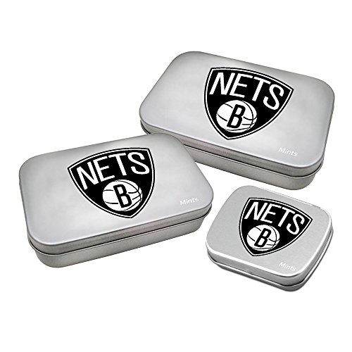 WOY7E NBA Brooklyn Nets Decorative Mint Tin with Sugar-Free Mini Peppermint Candies (3 Pack), Silver