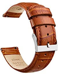 22mm Quick Release Leather Watch Bands Brown Alligator Watch Strap for Men Women