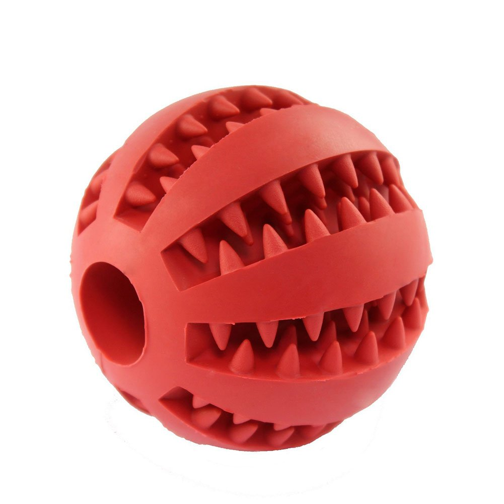 Red Eudally Dog Toy Ball for Pet Chewing Interactive IQ Training Playing,Non-Toxic Tooth Cleaning Toy-Size 2.75  (Red)